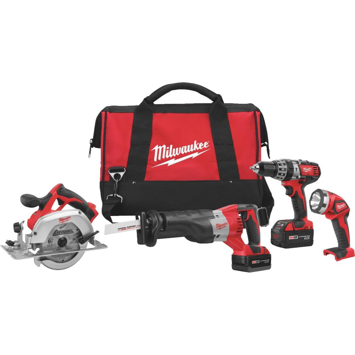 Milwaukee 4-Tool M18 Lithium-Ion Hammer Drill, Reciprocating Saw, Circular Saw & Work Light Cordless Tool Combo Kit Image 1