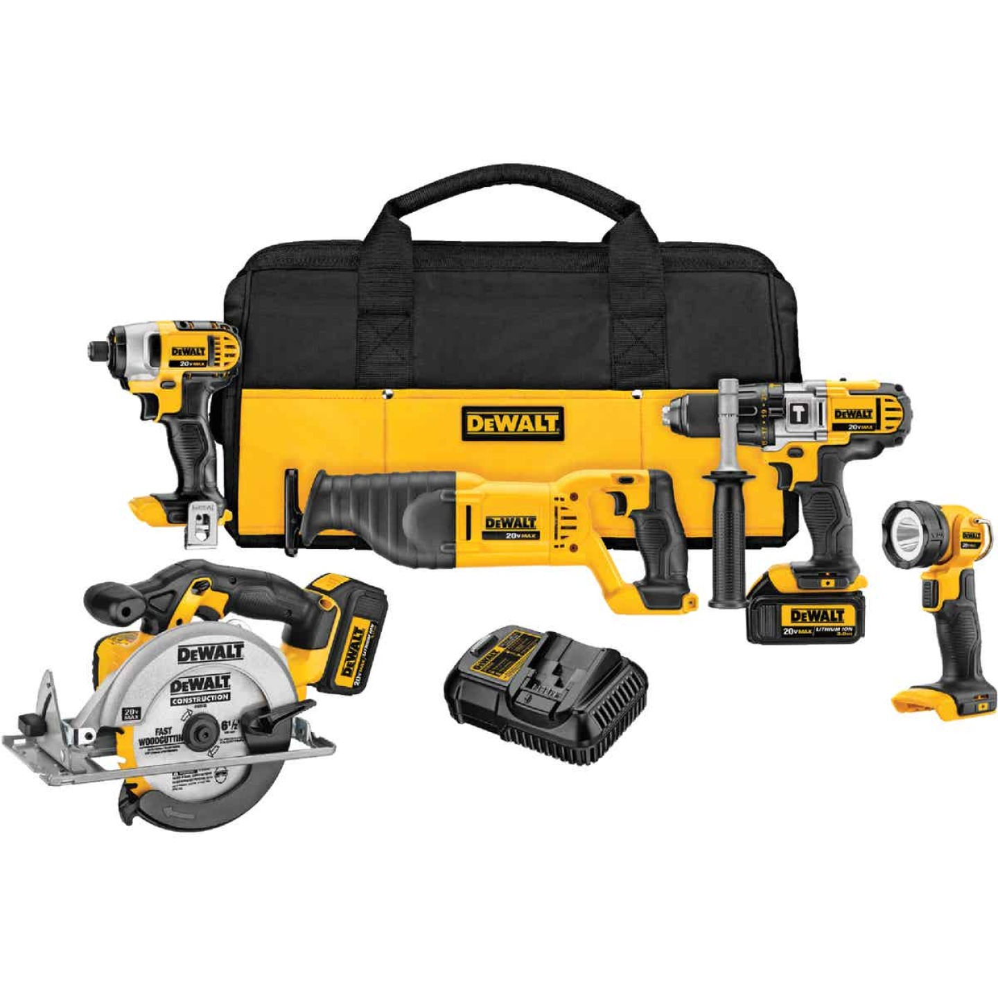 DeWalt 5-Tool 20V MAX XR Lithium-Ion Hammer Drill, Reciprocating Saw, Impact Driver, Circular Saw & Work Light Cordless Tool Combo Kit Image 1
