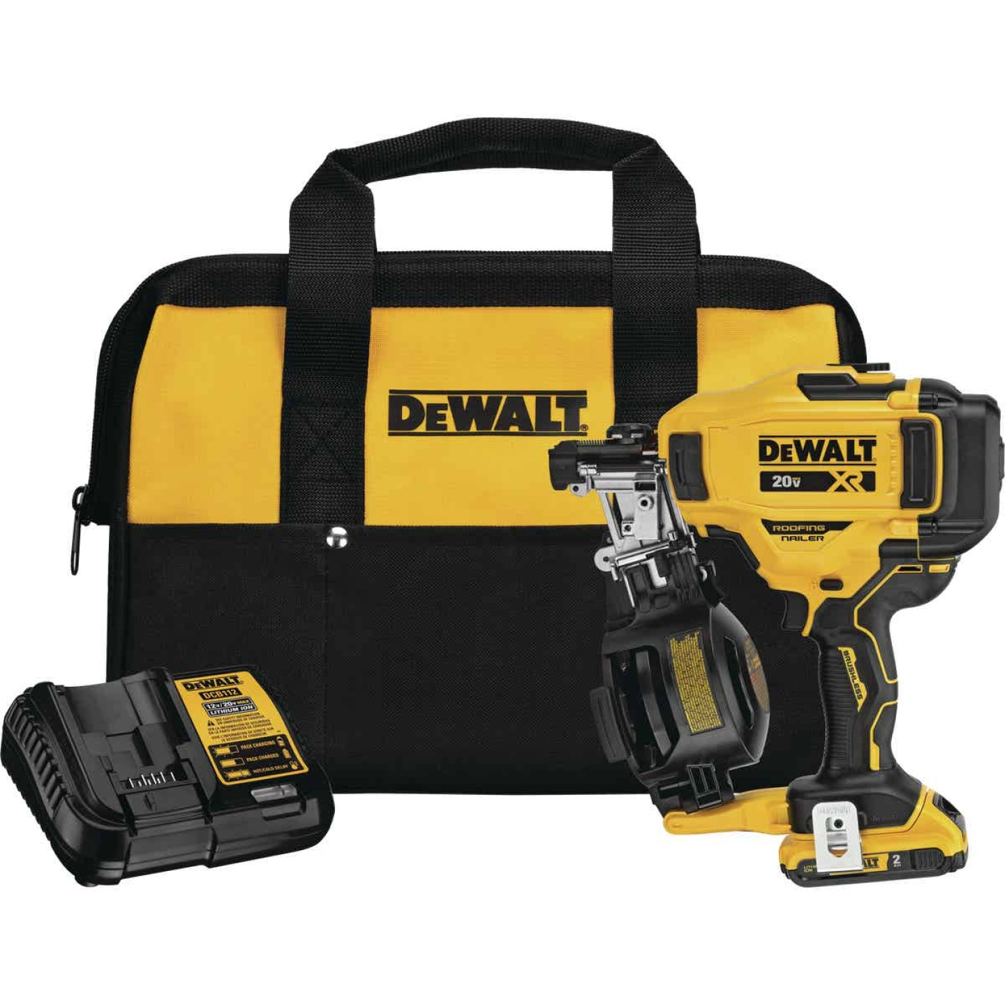 DeWalt 20 Volt MAX Lithium-Ion Brushless 15 Degree 1-3/4 In. Coil Cordless Roofing Nailer Kit Image 1