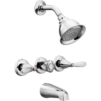 Moen Chrome 3-Handle Lever Tub and Shower Faucet