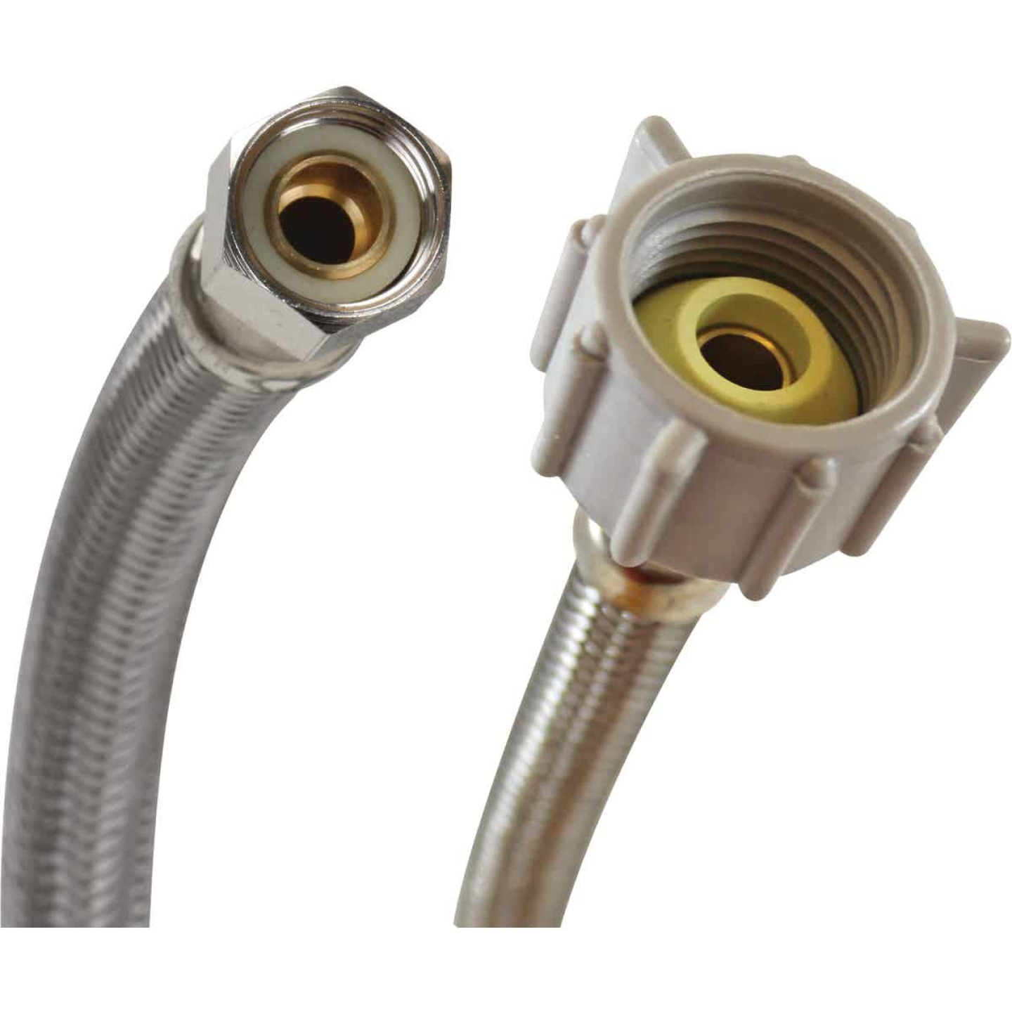 """Fluidmaster 3/8"""" Comp x 7/8"""" Ballcock x 16"""" L Braided Stainless Steel Toilet Connector Image 1"""