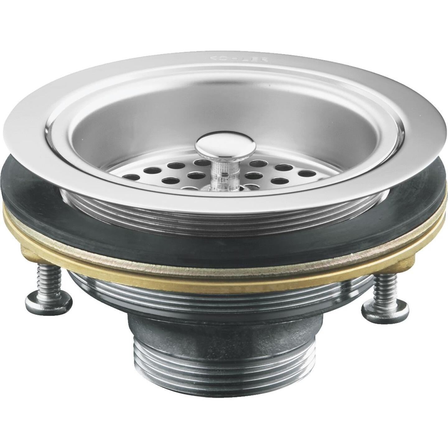 Kohler Duostrainer 3-1/2 In. to 4 In. Opening Basket Strainer Assembly in Polished Chrome Finish Image 1