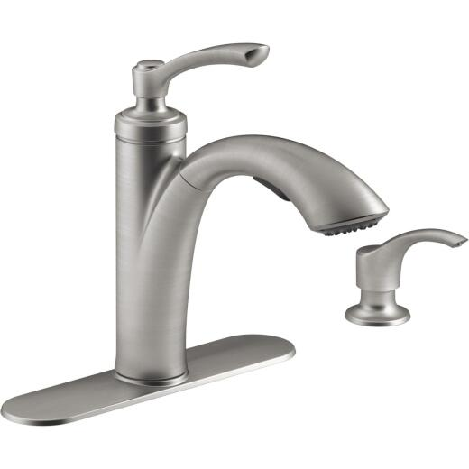 Kohler Linwood Single Handle Lever Pullout Kitchen Faucet with Soap Dispenser, Stainless