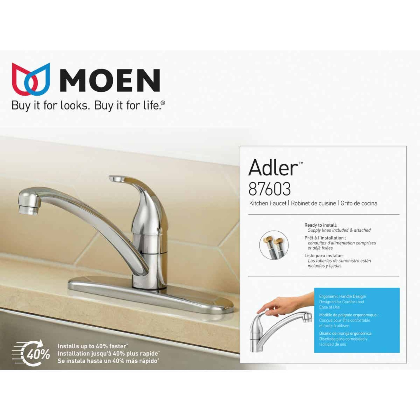Moen Adler Single Handle Lever Kitchen Faucet, Chrome Image 3