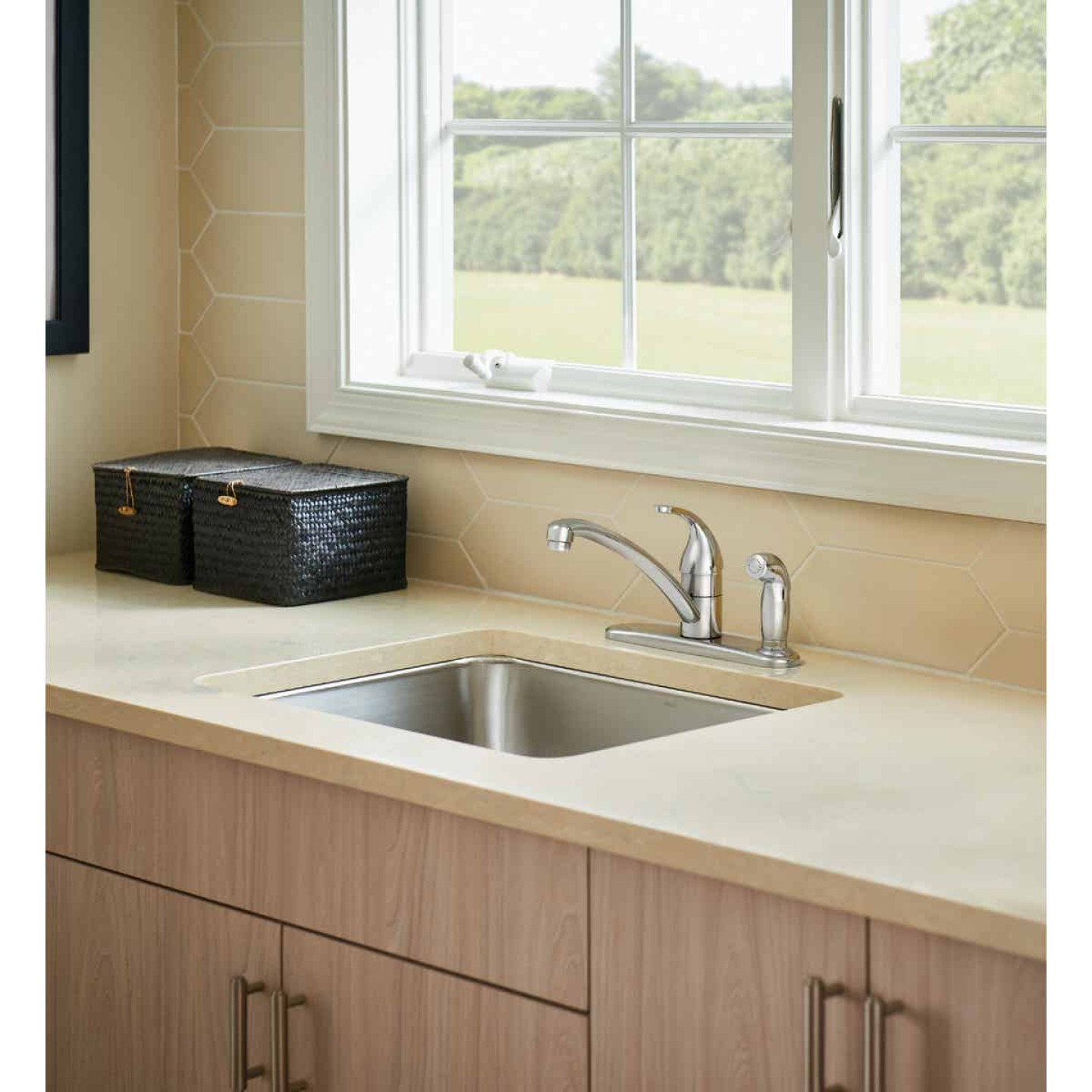 Moen Adler Single Handle Lever Kitchen Faucet with Deck Plate Spray, Chrome Image 2