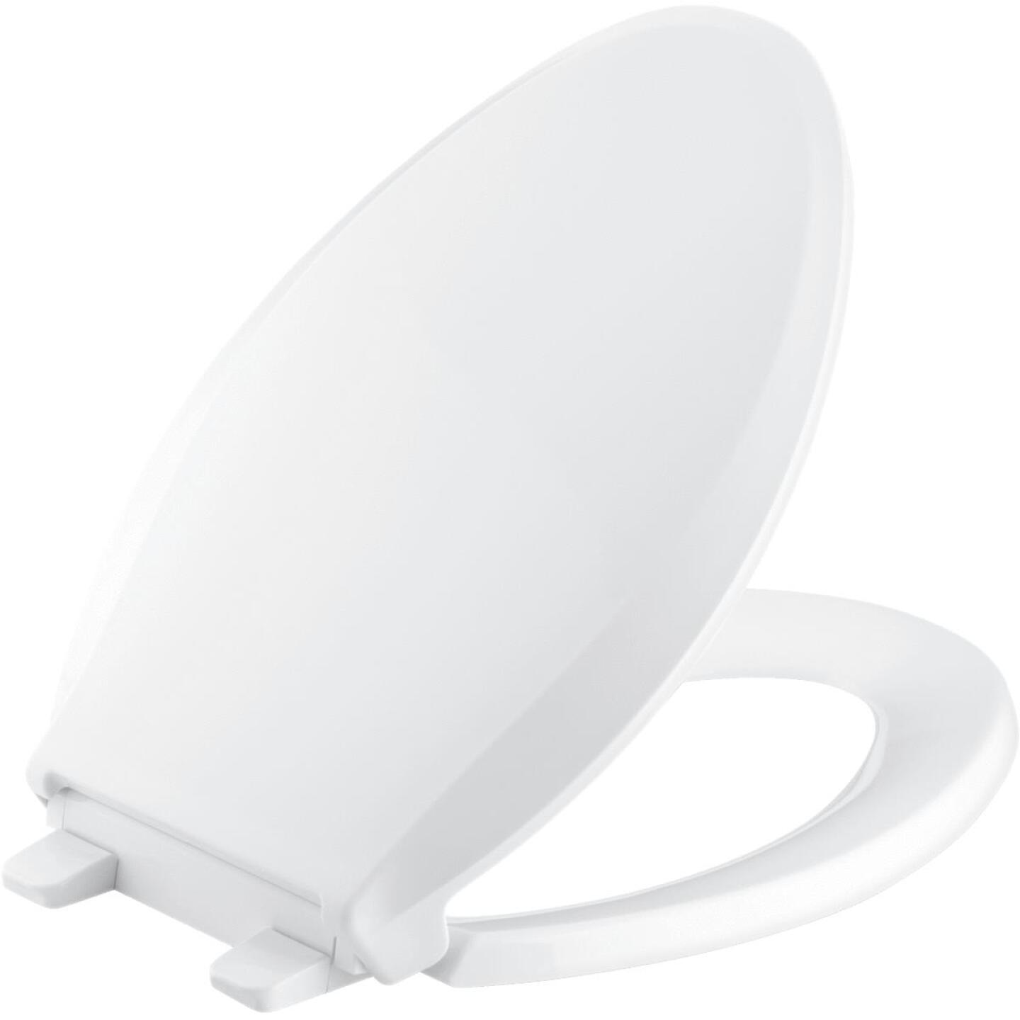 Kohler Cachet Quiet-Close Elongated Closed Front White Plastic Toilet Seat w/Grip-Tight Bumpers Image 1