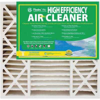 Flanders 20 In. x 25 In. x 4-1/2 In. Deep Pleat High Efficiency MERV 8 Furnace Filter