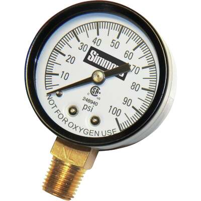 Simmons 1/4 In. MPT Fitting 100 psi Pressure Gauge