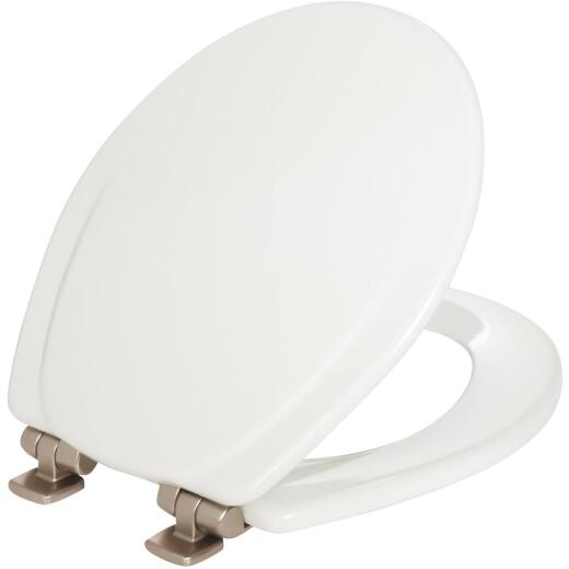 Mayfair Round Closed Front Slow Close White Wood Toilet Seat