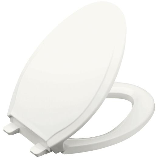 Kohler Rutledge Quiet-Close Elongated Closed Front White Plastic Toilet Seat w/Grip-Tight