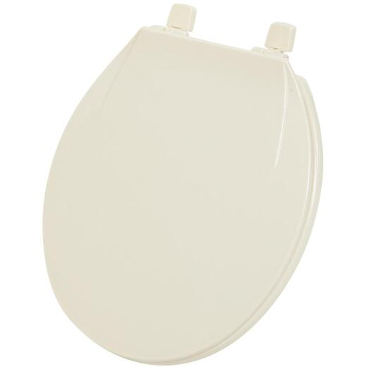 Home Impressions Round Closed Front Bone Plastic Toilet Seat