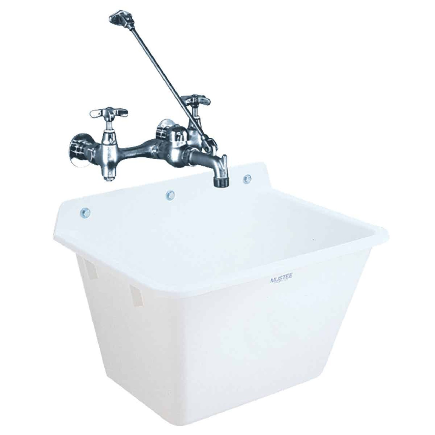 Mustee 12 Gallon 17 In. x 22 In. Wall Mount Utility Tub ( Faucet Not Included) Image 1
