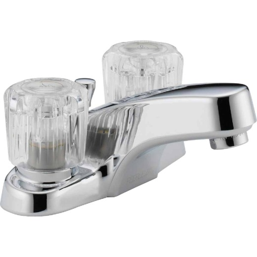 Peerless Choice Chrome 2-Handle Knob 4 In. Centerset Bathroom Faucet with Pop-Up