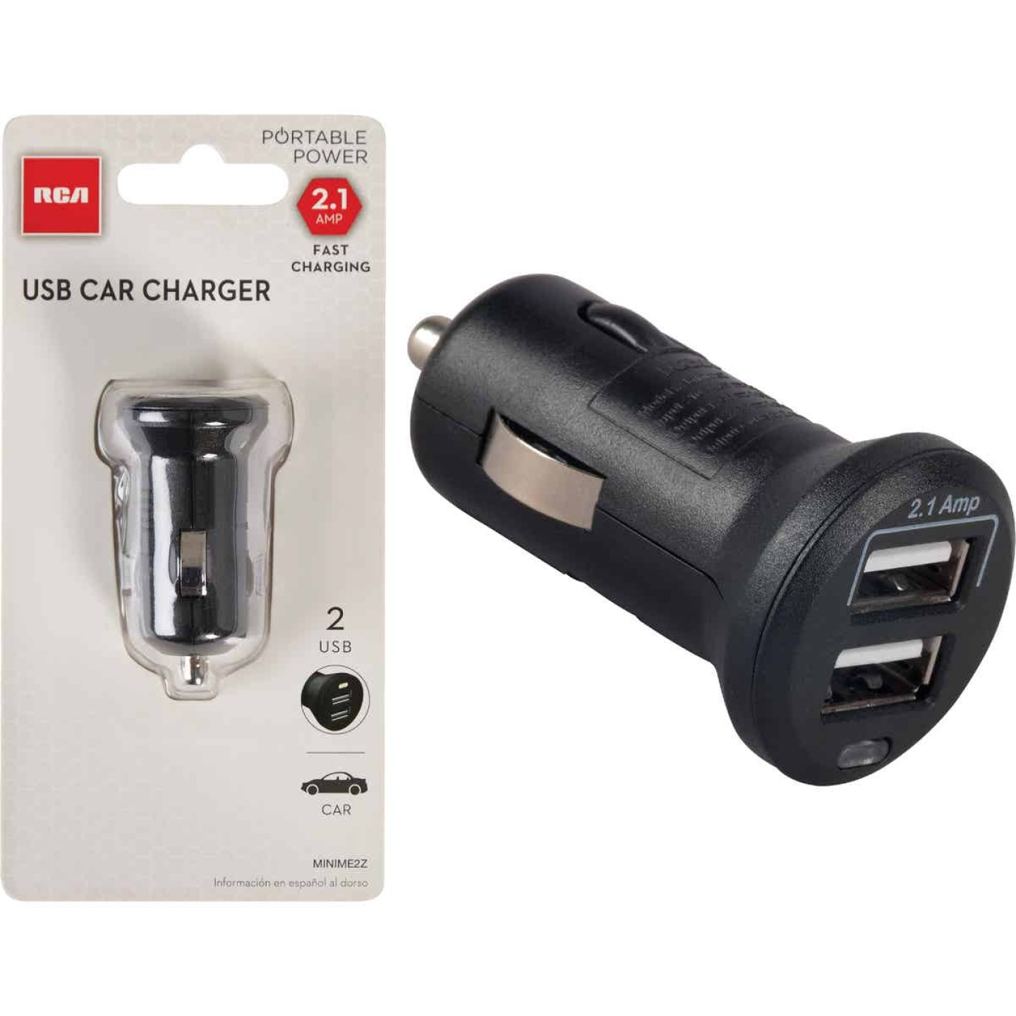 RCA 12V Dual USB Black Car Charger Image 1