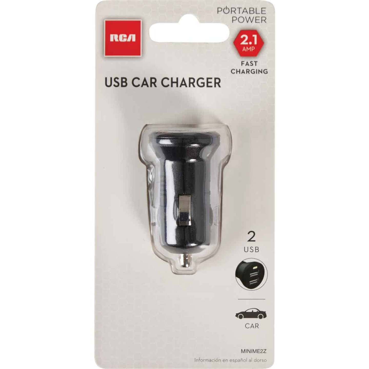 RCA 12V Dual USB Black Car Charger Image 2