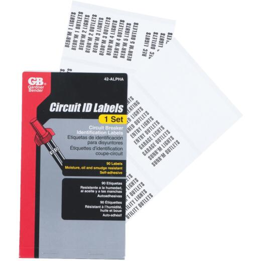 Gardner Bender Nylon Impregnated Cloth Circuit Breaker Wire Label Set