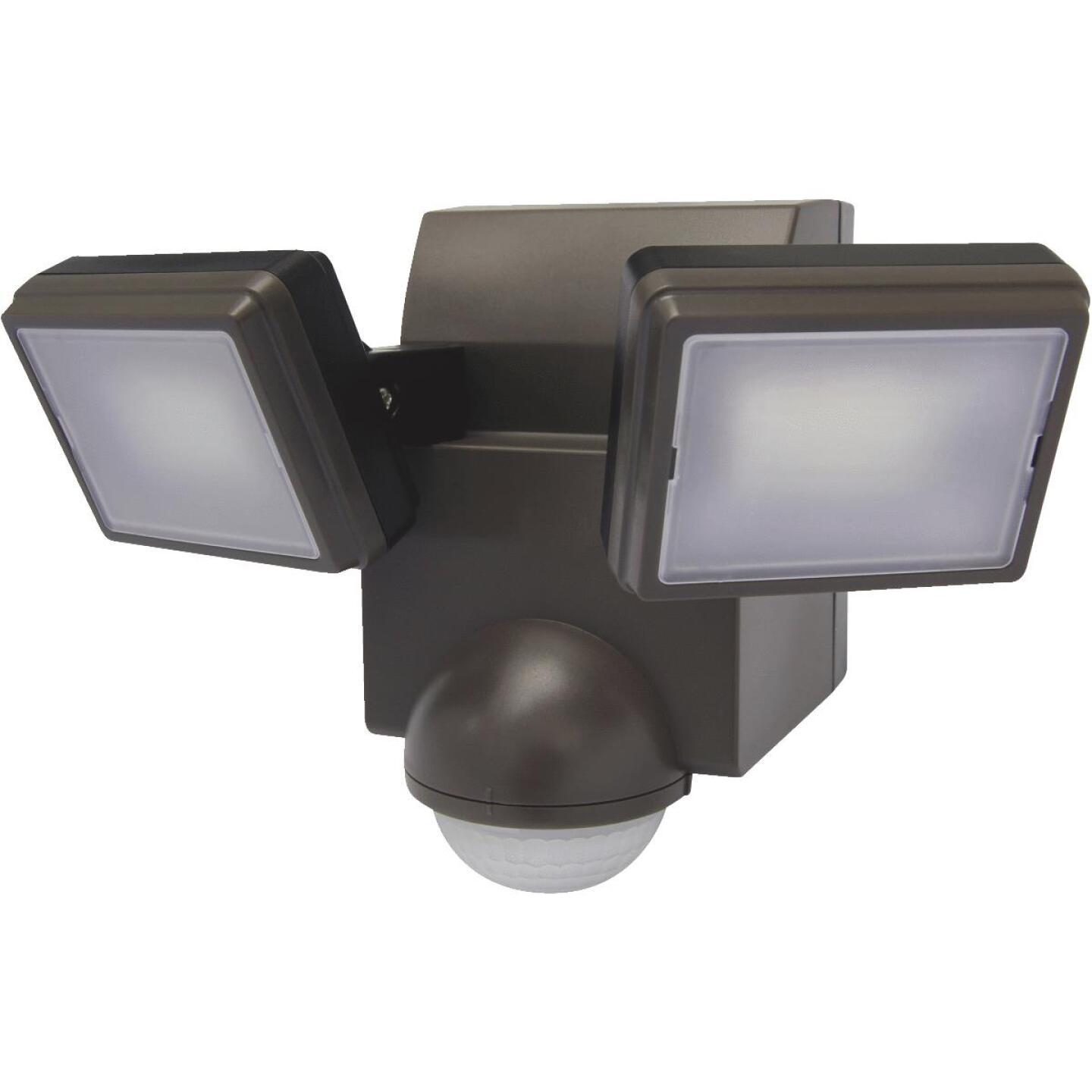 IQ America Bronze 700 Lm. LED Battery Operated 2-Head Security Light Fixture Image 1
