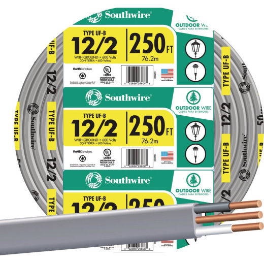 Southwire 250 Ft. 12 AWG 2-Conductor UFW/G Wire