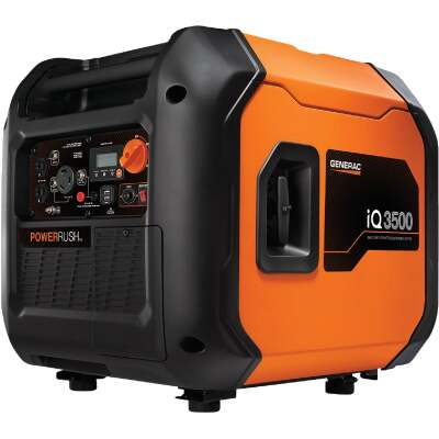 Generac iQ3500 3000W Gasoline Powered Portable Electric/Recoil Pull Start Inverter Generator