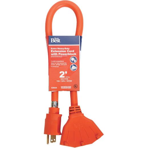Do it Best 2 Ft. 12/3 Extension Cord with Powerblock