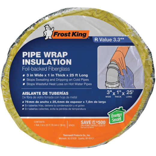 Frost King 1 In. x 3 In. x 25 Ft. Wall Fiberglass Pipe Insulation Wrap