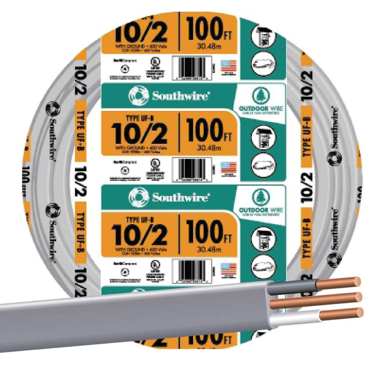 Southwire 100 Ft. 10 AWG 2-Conductor UFW/G Wire Image 1