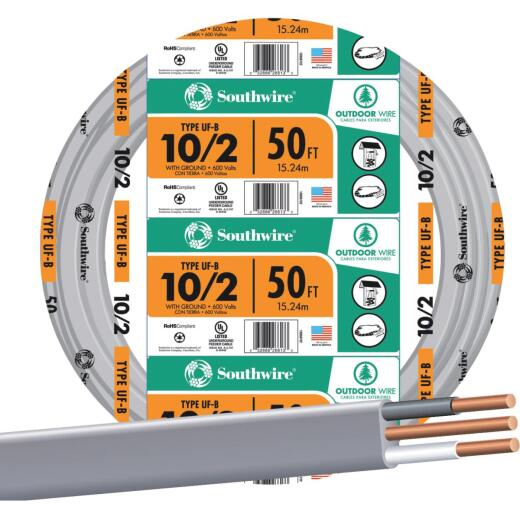 Southwire 50 Ft. 10 AWG 2-Conductor UFW/G Wire