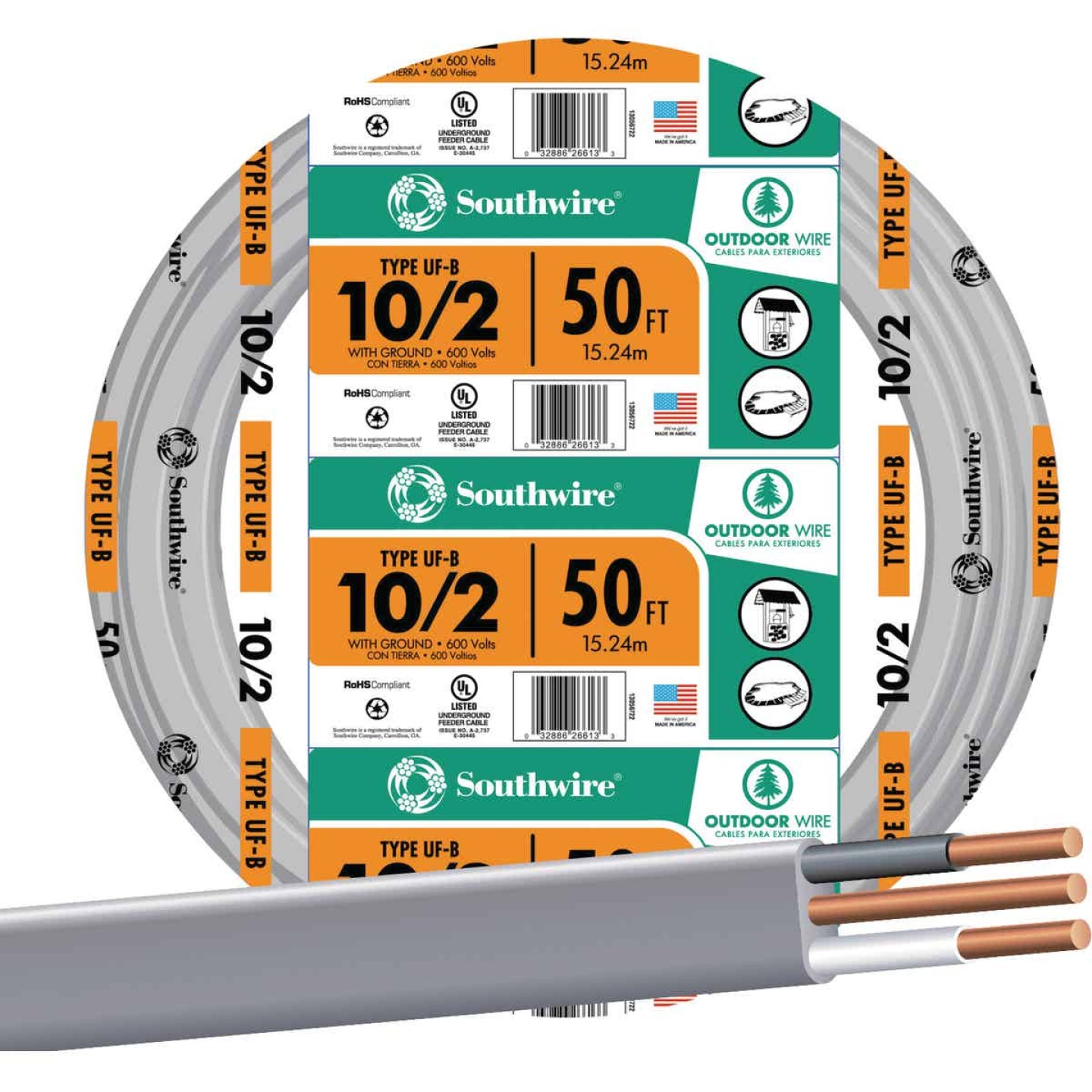 Southwire 50 Ft. 10 AWG 2-Conductor UFW/G Wire Image 1
