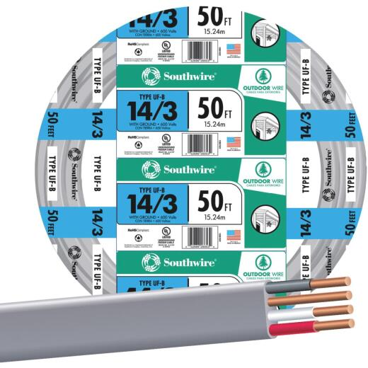 Southwire 50 Ft. 14 AWG 3-Conductor UFW/G Wire