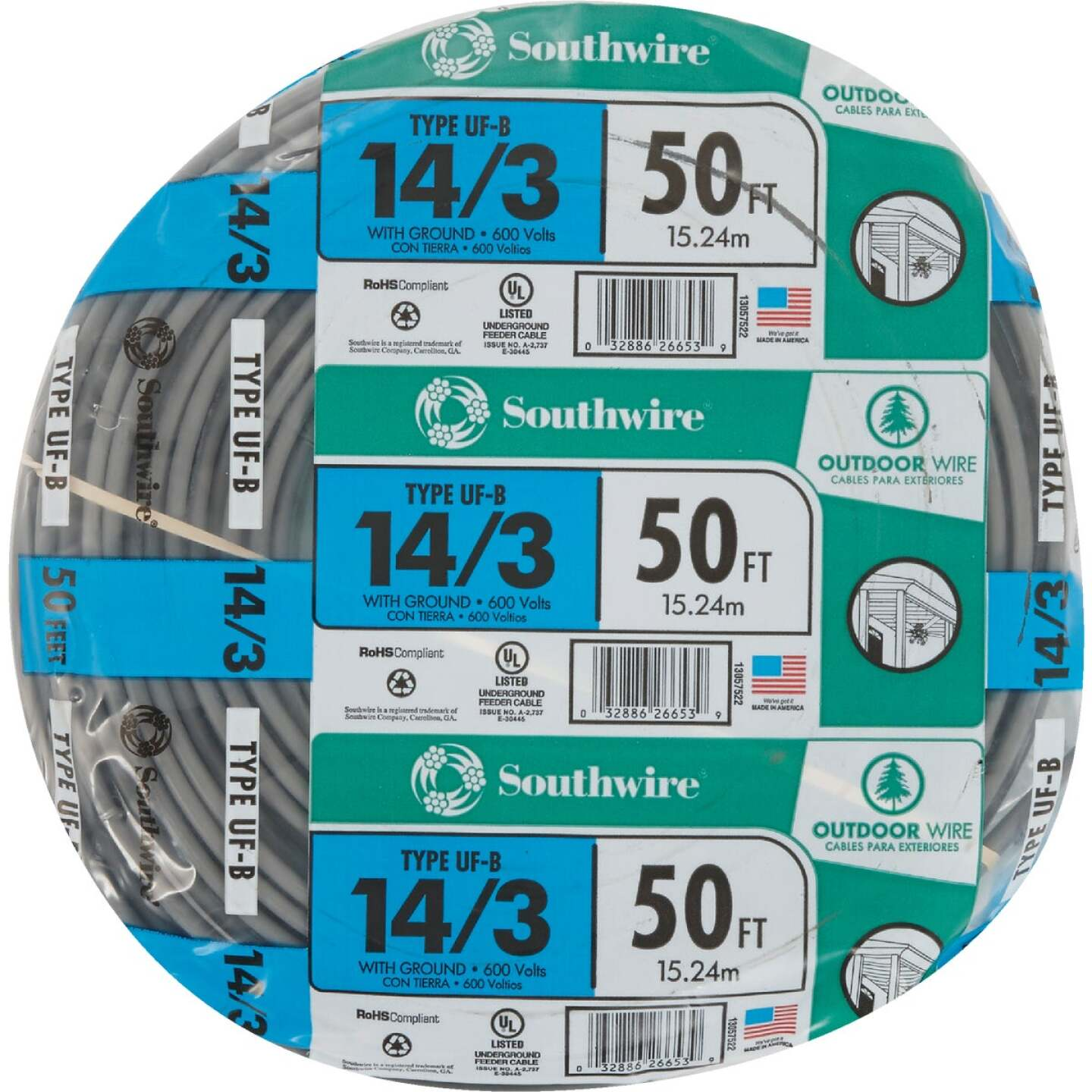Southwire 50 Ft. 14 AWG 3-Conductor UFW/G Wire Image 2