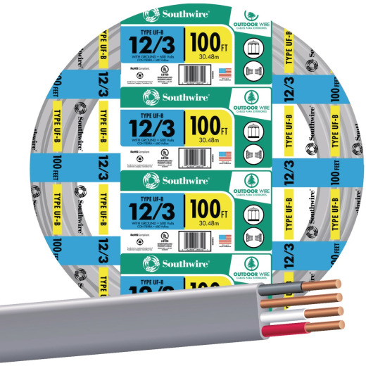 Southwire 100 Ft. 12 AWG 3-Conductor UFW/G Wire