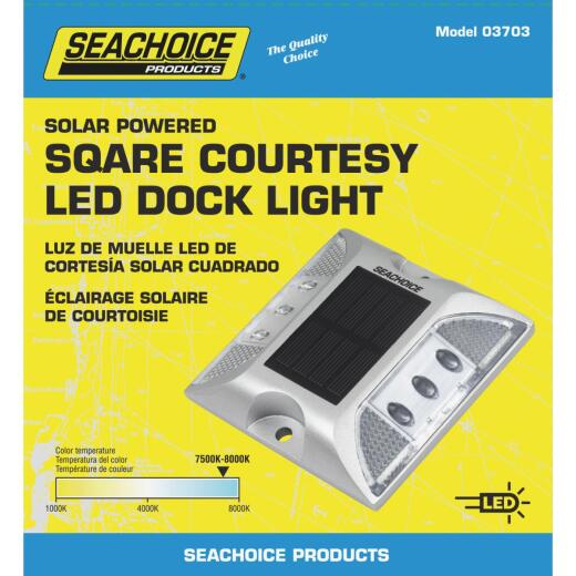 Seachoice 4-3/4 In. x 1 In. Silver LED Square Courtesy Solar Deck Light