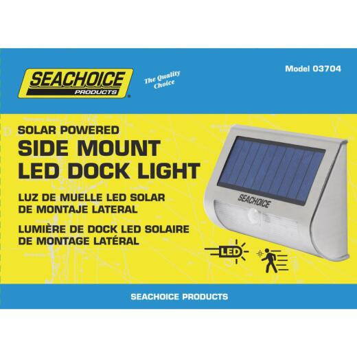 Seachoice 3.75 In. x 5 In. x 1.75 In. Silver LED Side Mount Solar Deck Light