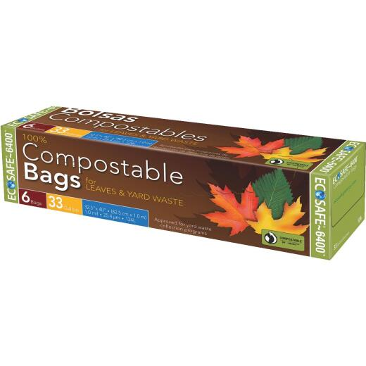 Eco Safe 6400 30 Gal. Green Compostable Lawn & Leaf Bag (6-Count)
