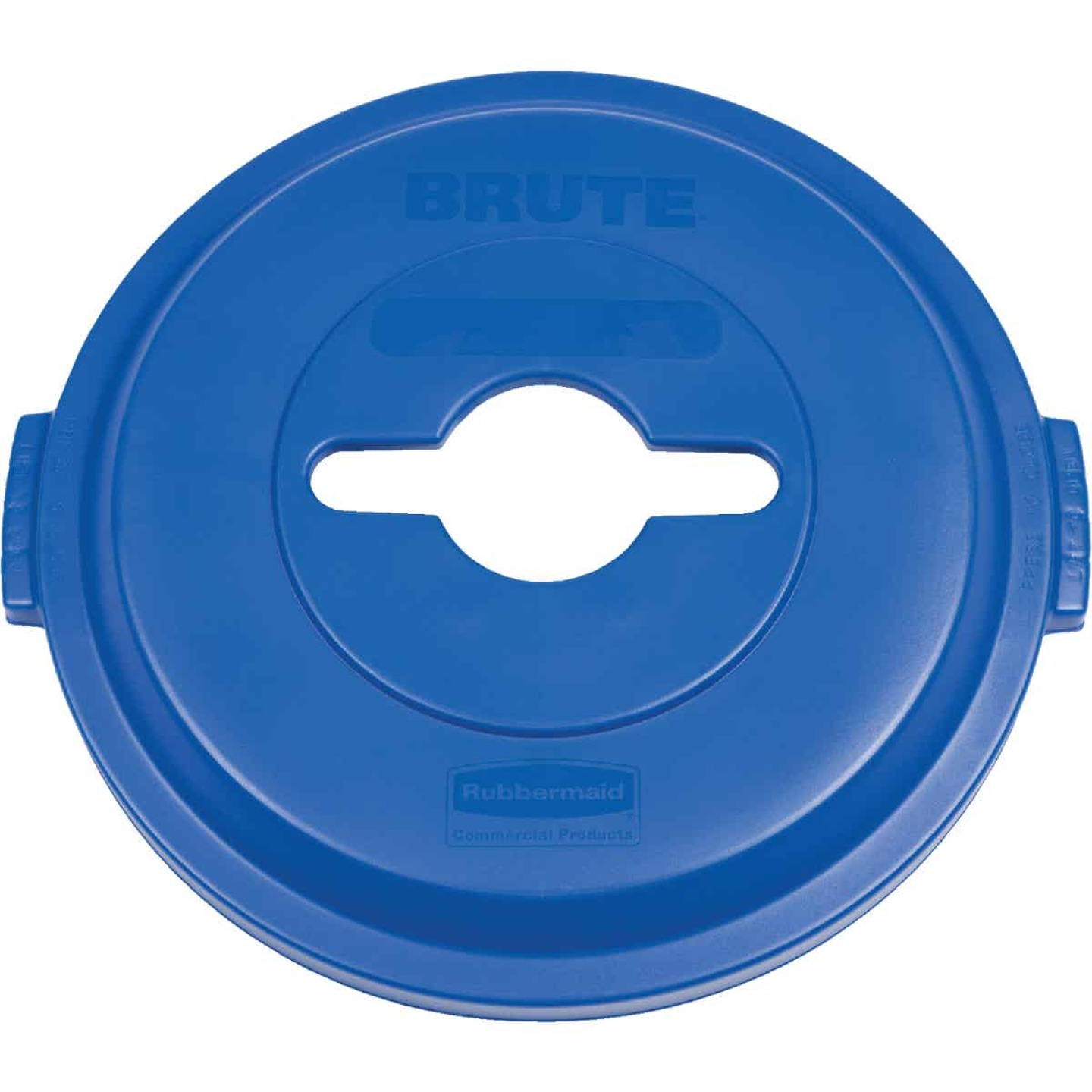 Rubbermaid Commercial Brute Blue Recycle Trash Can Lid for 32 Gal. Trash Can Image 1