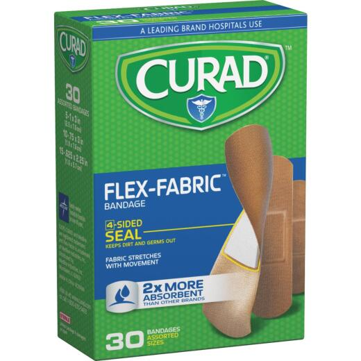 Curad Flex-Fabric Assorted Sizes Bandages, (30 Ct.)