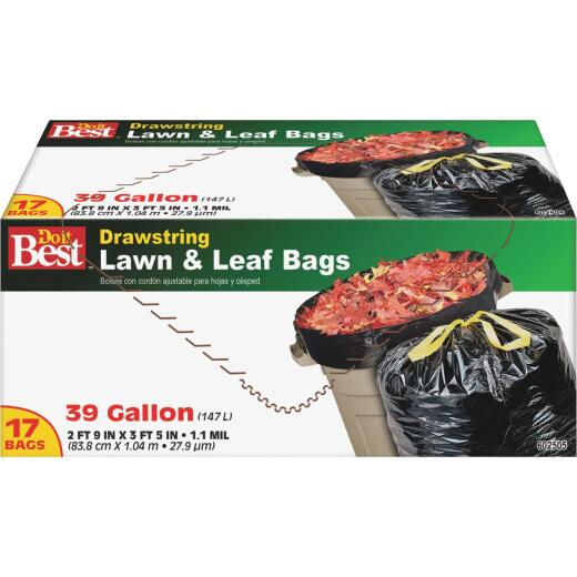Do it Best 39 Gal. Black Drawstring Lawn & Leaf Bag (17-Count)