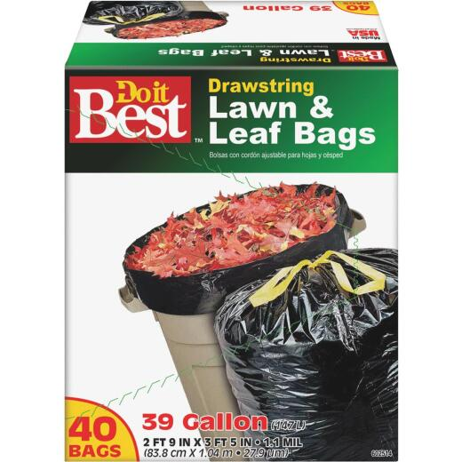 Do it Best 39 Gal. Black Drawstring Lawn & Leaf Bag (40-Count)