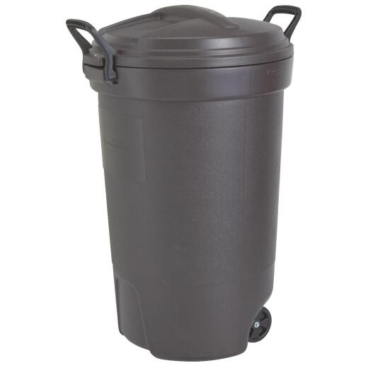 Rubbermaid 32 Gal. Black Wheeled Trash Can with Lid