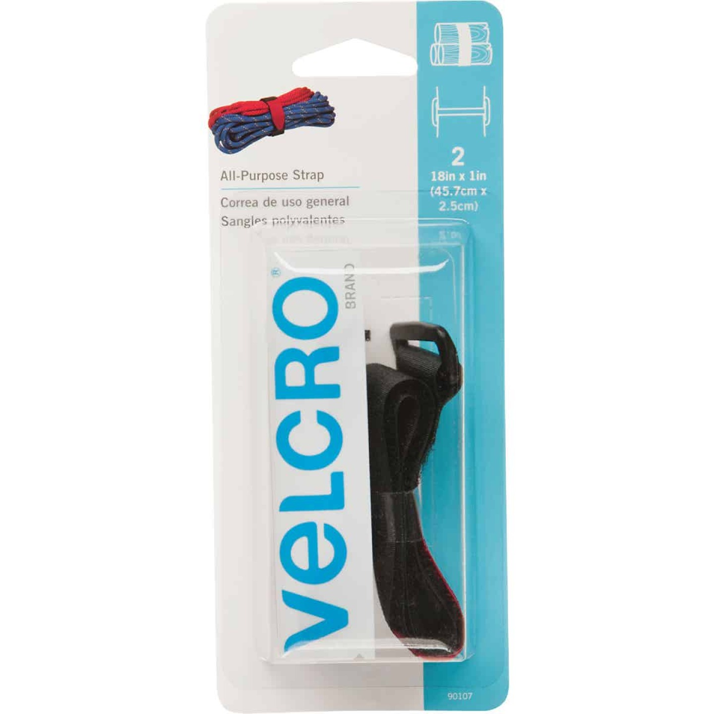 VELCRO Brand 1 In. x 18 In. Black All-Purpose Hook & Loop Strap (2 Ct.) Image 1