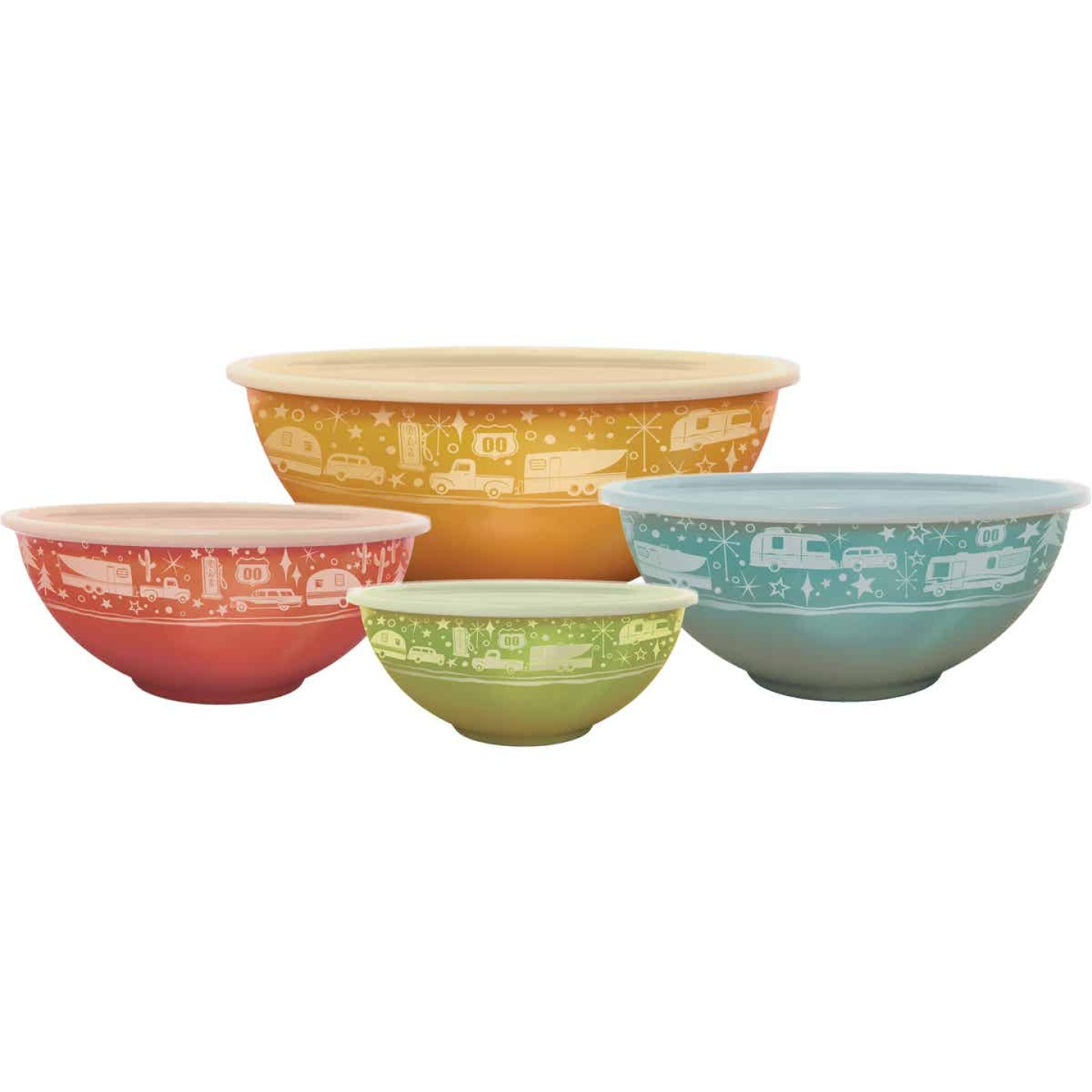 Camp Casual 100% Melamine Nesting Bowls with Lids Image 1