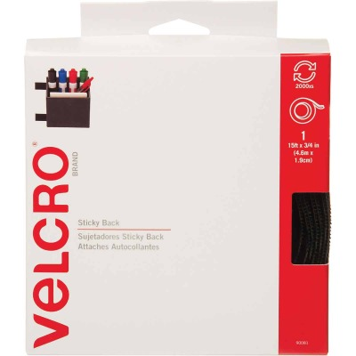 VELCRO Brand 3/4 In. x 15 Ft. Black Sticky Back Reclosable Hook & Loop Roll