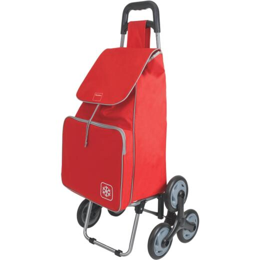 Metaltex Peony Red 14 In. x 39 In. x 11 In. Soft Sided Tote Stair Climbing Utility Cart