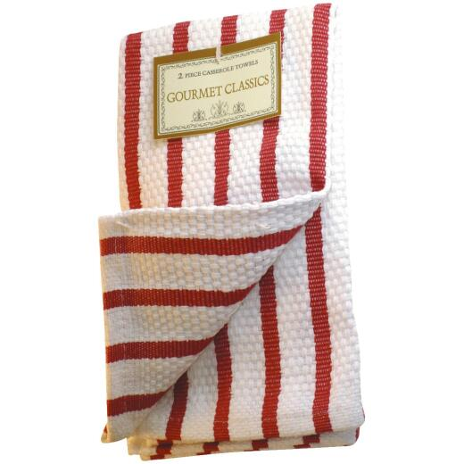 Gourmet Classics Red Stripe Kitchen Dish Cloth (2 Pack)