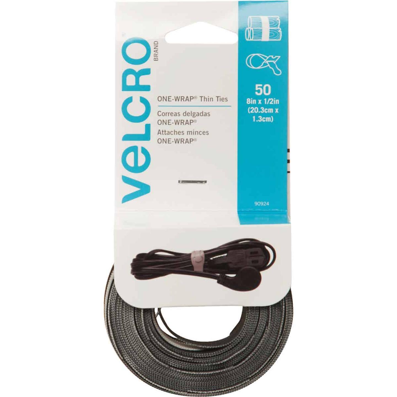 VELCRO Brand One-Wrap 1/2 In. x 8 In. Black Hook & Loop Tie (50 Ct.) Image 1