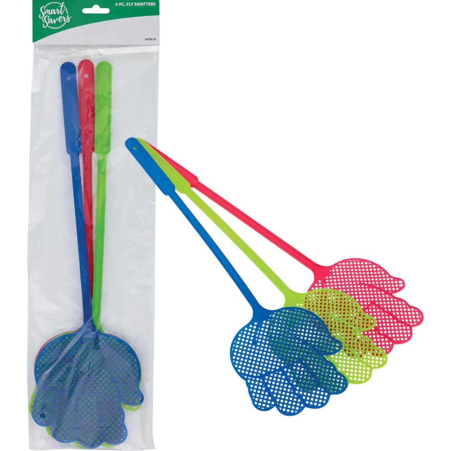 Smart Savers 5 In. x 4.7 In. Plastic Fly Swatter (3-Pack) Image 1