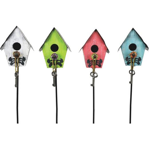 Alpine 38 In. Wooden Birdhouse Garden Stake Lawn Ornament
