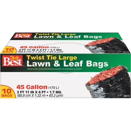 Do it Best 45 Gal. Black Twist Tie Lawn & Leaf Bag (10-Count)