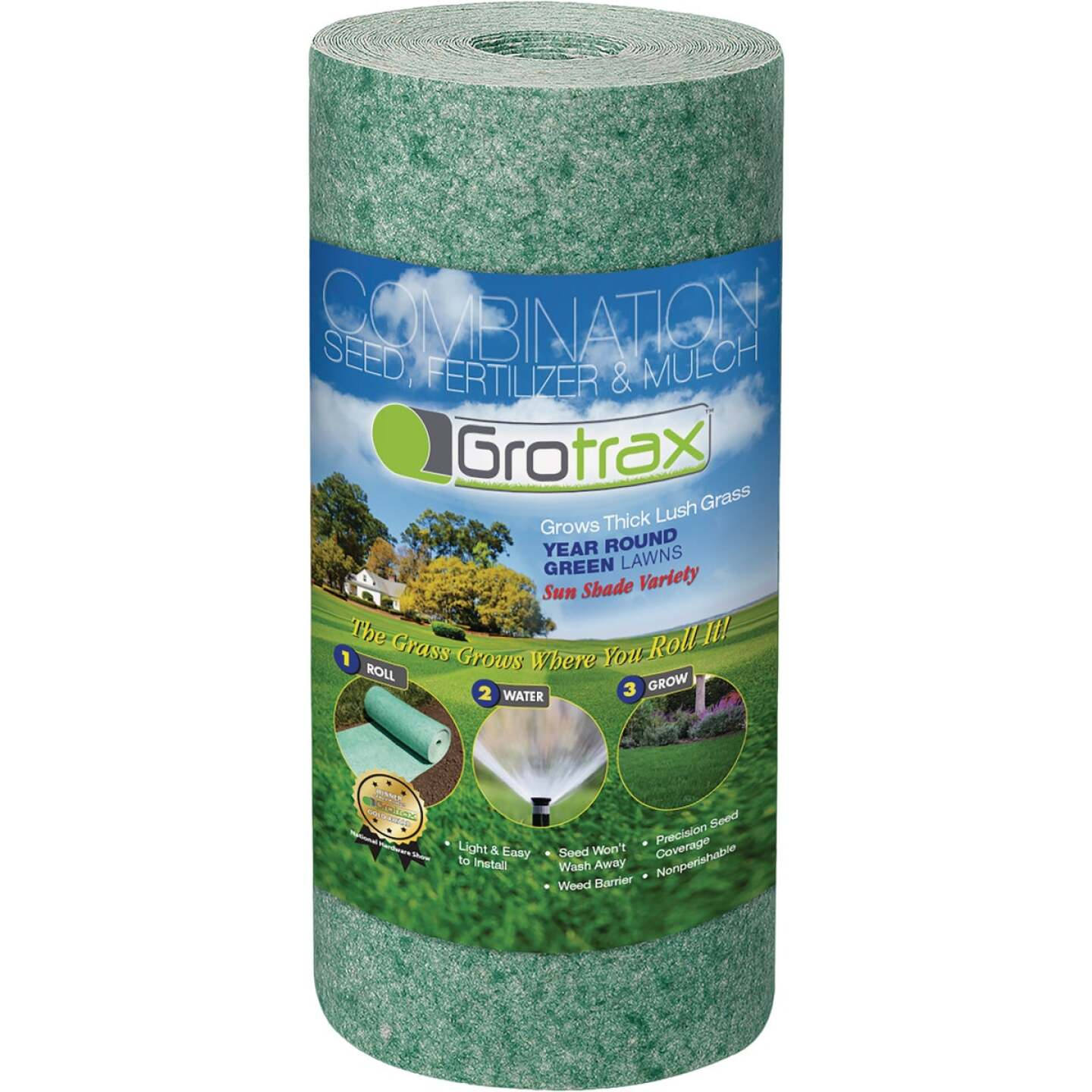 GroTrax Quick-Fix 50 Sq. Ft. Coverage Year Round Green Mixture Grass Seed Roll Image 1