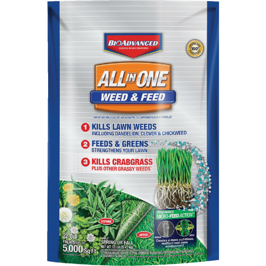BioAdvanced All-In-1 12 Lb. 5000 Sq. Ft. 22-0-4 Weed & Feed Lawn Fertilizer with Weed Killer